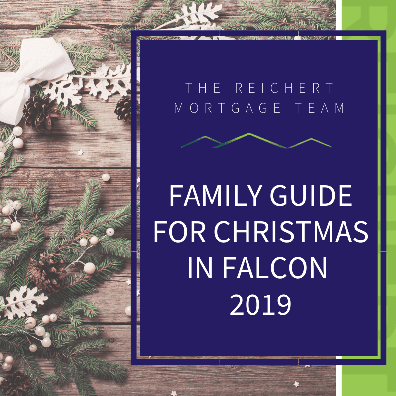 Blog image with title 'family guide for christmas in Falcon 2019' with pine trees and pinecones