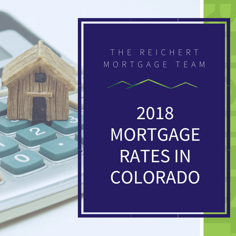 Reichert Mortgage blog image with title '2019 mortgage rates in colorado' and picture of small house on top of a calculator