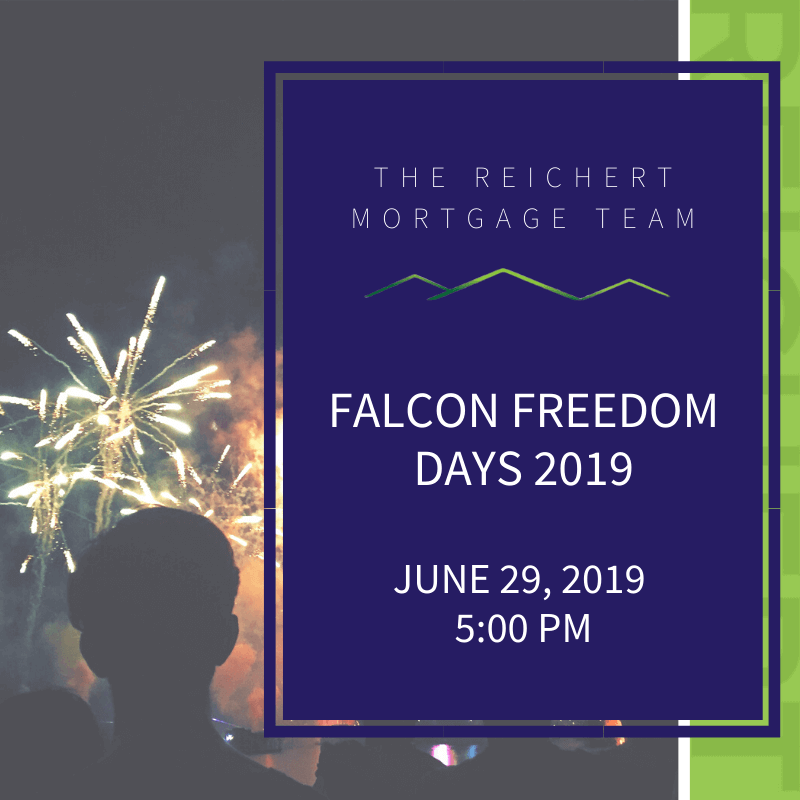 Reichert Mortgage blog image with title 'Falcon Freedom Days 2019' with image of people watching fireworks