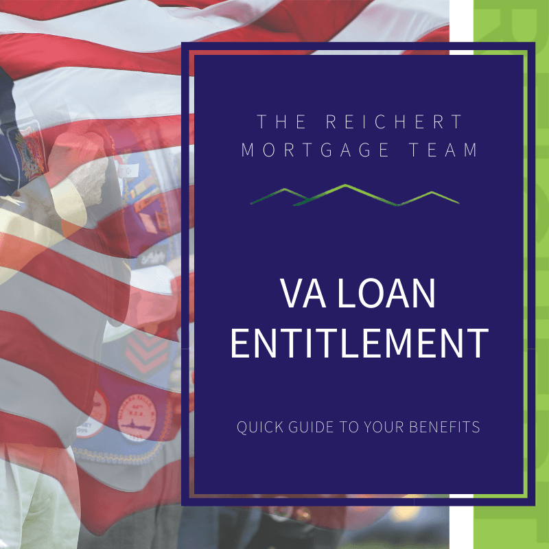 """3 veterans saluting behind a transparent American flag with text of """"va loan entitlement"""""""